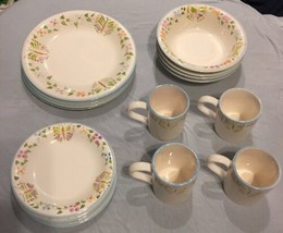 Gibson Everyday China 16 Pc 4 Pl Settings Butterflies & Flowers Plates B... - $103.94