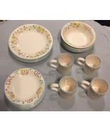 Gibson Everyday China 16 Pc 4 Pl Settings Butterflies & Flowers Plates B... - $104.99