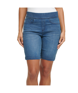 DKNY Jeans Ladies' Pull On Bermuda Short Elastic Waist Stretch Denim Blue - $24.79