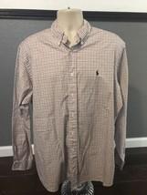 Ralph Lauren Shirt Long Sleeve Classic Fit XL Red Blue Striped - $16.44