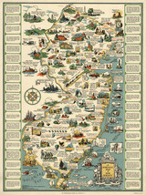 """1935 Pictorial Historical Map New Jersey 11""""x14"""" Wall Art Poster Print G... - $12.38"""