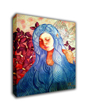 "Cartoon Art Oil Painting Print On Canvas Modern Decor""Portrait Of Girl"" ... - $14.80+"