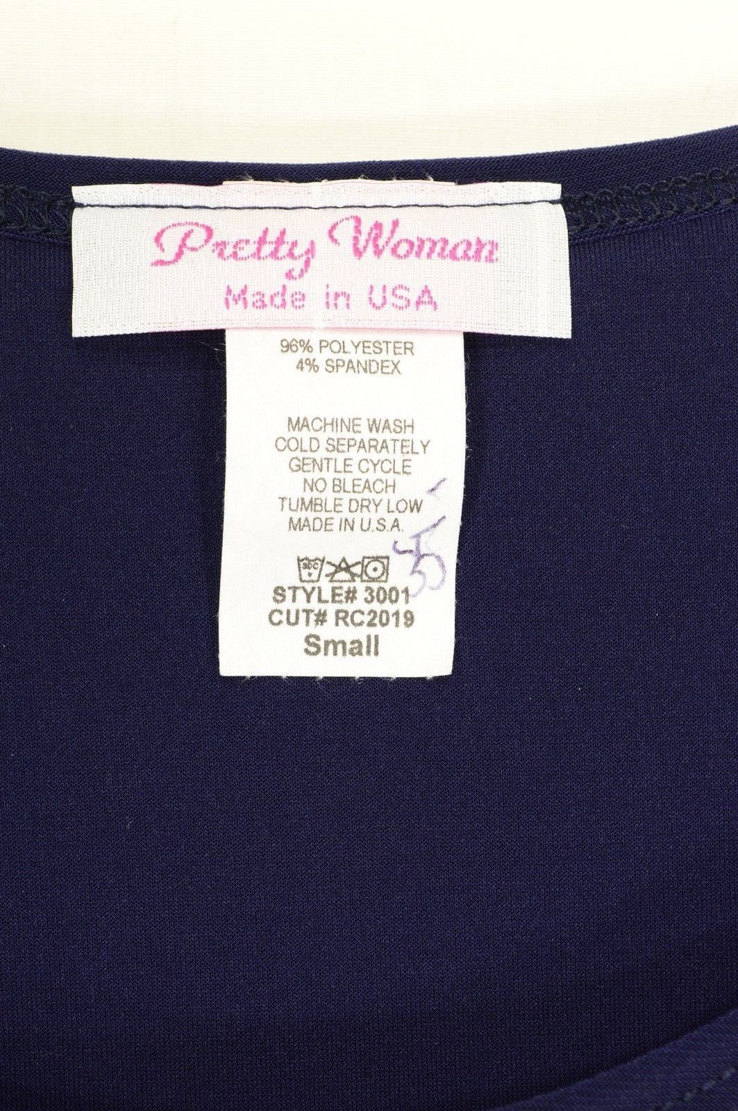 Pretty Woman top NWT tunic long loose navy 3/4 sleeve USA chic career