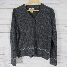 Woolrich Womens Sweater Size Small S Black Heather Wool Blend Knit - $30.56