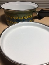 Vintage 70s Enamelware Pot and Lid - MCM Green with Blue & Yellow Flowers image 4