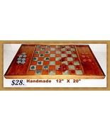 Wooden Checkerboard Set Handmade - $27.72