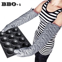Long Heat Resistant Kitchen Gloves Cotton Oven Mitts Baking BBQ Arm Prot... - $17.75+