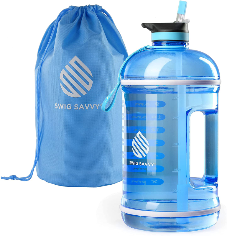Motivational Sports Fitness Water Bottle with Time Marker, Straw Lid 44Oz - $25.13