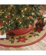 "Farmhouse Christmas Flower Poinsettia jute tree skirt 50"" rustic  - $89.99"