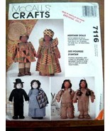 "MCCALL'S CRAFTS #7116 HERITAGE DOLLS 15"" TALL NEW UNCUT - $12.86"