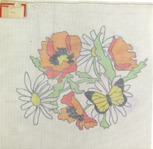 """Vintage 1970's Hand Painted Needlepoint Canvas """"2500"""" Forgotten Daisies ... - $33.30"""