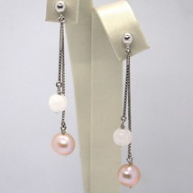 DROP EARRINGS WHITE GOLD 18K, DOUBLE CHAIN, PEARLS PURPLE, PINK QUARTZ image 1