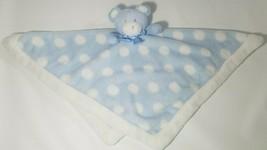 Blankets & Beyond Plush Teddy Bear Lovey Security Blanket Blue White Pol... - $17.46