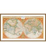 Cross Stitch Pattern Old Fashioned Map of the World, Cross Stitch Chart, PDF - $3.32