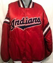 VTG Starter Mens Cleveland Indians Red Satin Jacket Sz XL Diamond Collection MLB - $105.18