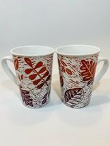 Starbucks Autumn Leaves Set Of 2 Mugs Red Purple EUC - $12.86