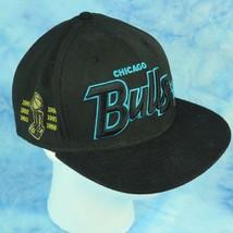 New Era Chicago Bulls Black Aqua Script Wool Snapback Hat Cap 90s Championships - $19.75