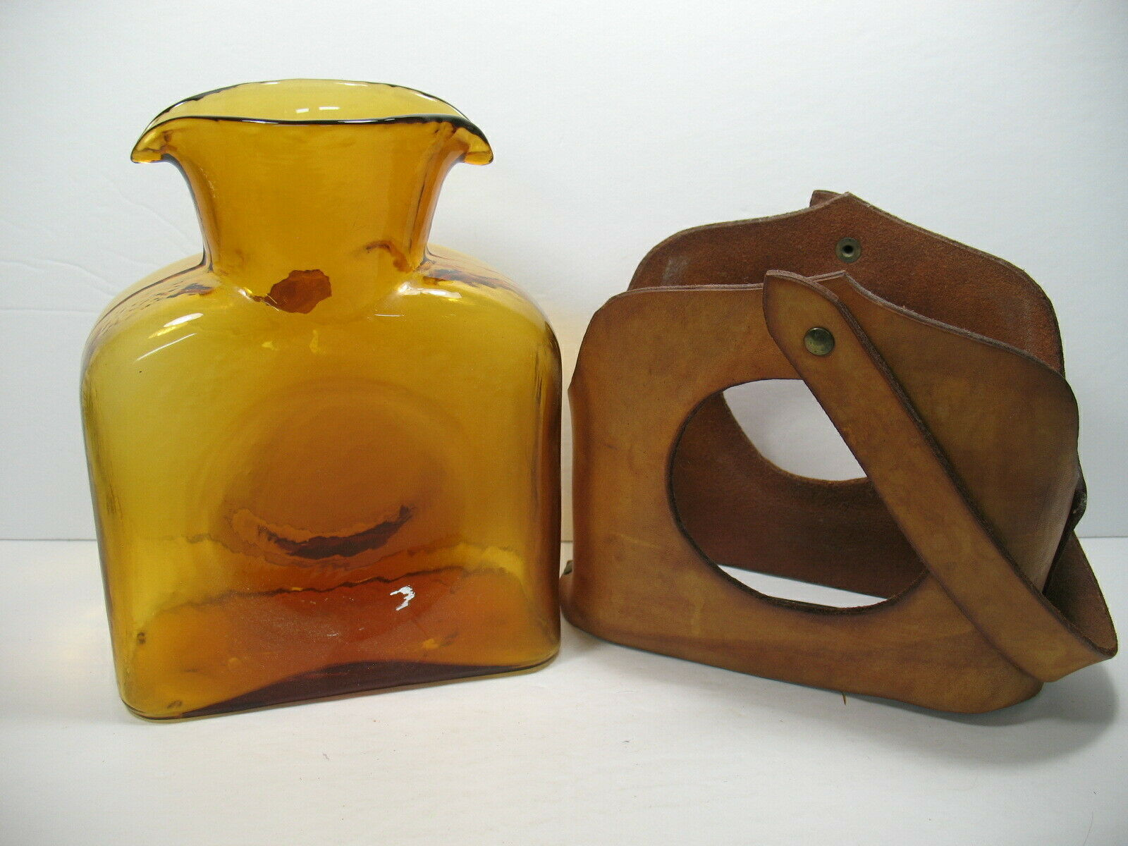 Amber  Decanter Double Spout with Leather Carrying Case - $58.04