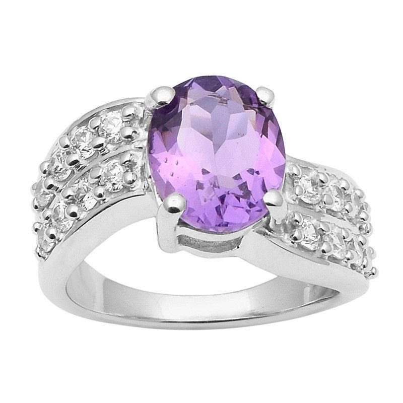 Amethyst With White Topaz 925 Sterling Silver Ring Shine Jewelry Size-8 SHRI1423