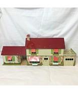 Vintage Marx Tin Metal Litho Colonial Dollhouse with Breezeway plus Furn... - $199.95