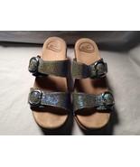 Dansko Sophie Iridescent Blue Shagreen Sandals Size 36 US 5.5 Slip On Clog - $59.40