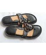 BORN Women Size 7M US Flip Flop Black Brown decor  Sandal Leather Slip On - $19.80