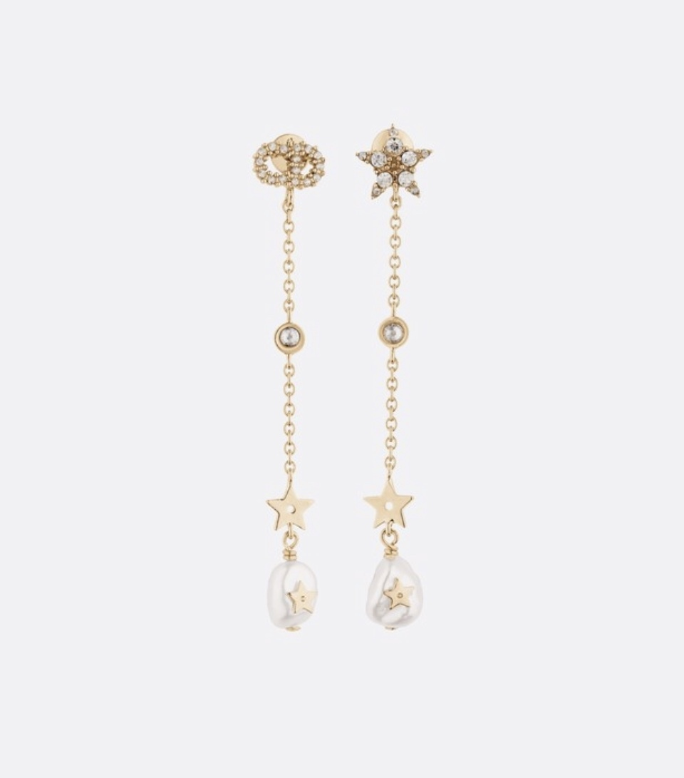 Authentic Christian Dior 2019 SHINY-D EARRINGS CD Crystal Pearl Dangle Drop Star