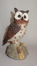 Vintage Owl Sitting on Branch Rocks Figurine Resin Brown White Gray Chin... - $21.04