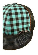 Official Nero Turchese Checker Rete Berretto da Baseball Cappello Snapback Nwt