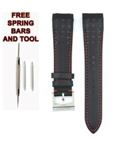 Compatible Seiko Sportura SCJC043 21mm Black Genuine Leather Watch Strap SKO111 - $34.65
