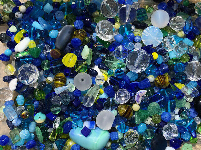 Primary image for Czech Glass Beads 1lb Bag Of Assorted Shapes And Sizes: Cobalt Sky