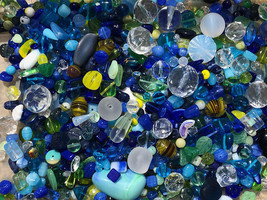 Czech Glass Beads 1lb Bag Of Assorted Shapes And Sizes: Cobalt Sky - $34.64