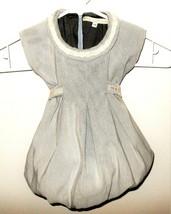 Mariella Burani Baby Girl Dress 3M 3 Month Designer Gray Ivory Stripe Bu... - $23.99