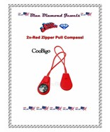 2pc  Red Zipper Pull Mini Compass Backpack Bag Strap Camping Travel US S... - $6.99