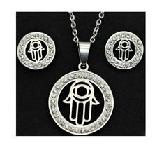 Hamsa Hand karma Stainless Steel Set Necklace & earrings Fashion Soul Holy gift - $6.59