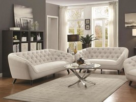 POTOMAC-New Modern Silver Fabric Sofa Couch & Loveseat Set Living Room Furniture