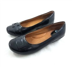 Clarks Artisan Black Patent Leather Ballet Flats Slip On Comfort Shoes W... - $34.51