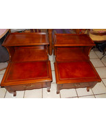 Pair of Mid Century Leather Top Mahogany Step End Tables / Side Tables - $499.00