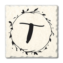 """Highland Home 4 Scripted Monogram Coasters""""T"""" w/wire holder - $23.99"""