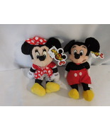 DISNEY Minnie & Mickey Mouse Classic Pair Classic Outfits Plush Beanies ... - $21.02