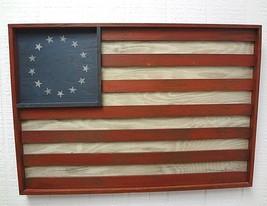 RUSTIC HAND PAINTED COLONIAL AMERICAN FLAG  WOOD WALL ART COLONIES 23'' ... - $27.66
