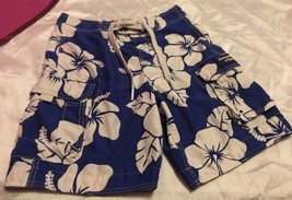 Abercrombie & Fitch Men's Hawaiian Print Blue Cargo Shorts Sz XS (30) - $18.99