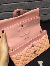 AUTHENTIC Chanel Pink Quilted Patent Leather Medium Double Flap Bag SHW image 5