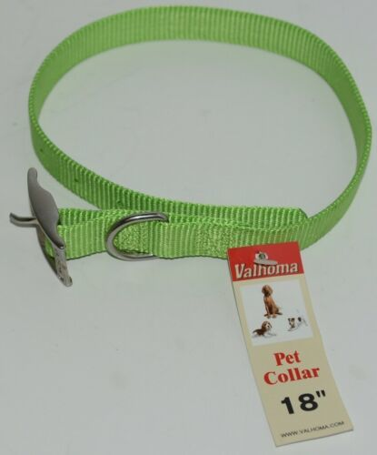 Valhoma 730 18 LG Dog Collar Lime Green Single Layer Nylon 18 inches Package 1