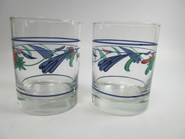 Lenox Poppies On Blue Double Old Fashion Tumbler 3 blue bands - $16.66