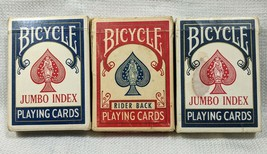 Lot 3 Vintage Decks Bicycle Jumbo Index Playing Cards 88 Red Rider Back 808 - $12.99