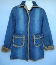 Lee Outerwear Denim Jacket Coat Faux Fur Lined Distressed Look Womens Large - $59.39