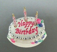 Napier Happy Birthday Cake Brooch Candles Colorful Enamel Pink Roses Nic... - $27.71