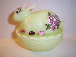Mosser Glass Yellow Bunny Box Candy Dish By Frmr Fenton Artist Sunday Davis Ooak - $67.42