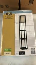 Hampton Bay Antique Black Shelf Floor Light Lamp w/Ivory Fabric Lamp Shade  - $69.29